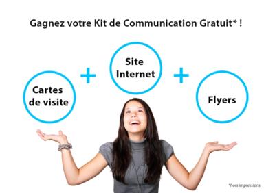Visuel pub gagnez kit de communication : site web plus flyers plus cartes de visite