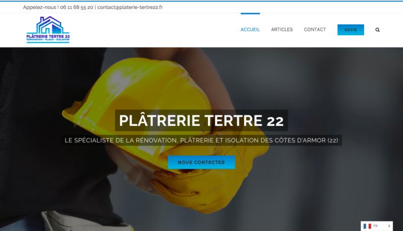 Ecran du site platrerie-tertre22.fr réalisé par l'agence Grain de Sell