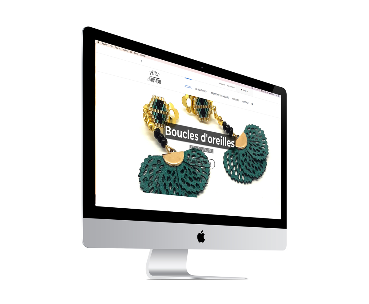 Ecran du site internet Perle d'armor, création de bijoux dans les Côtes d'armor