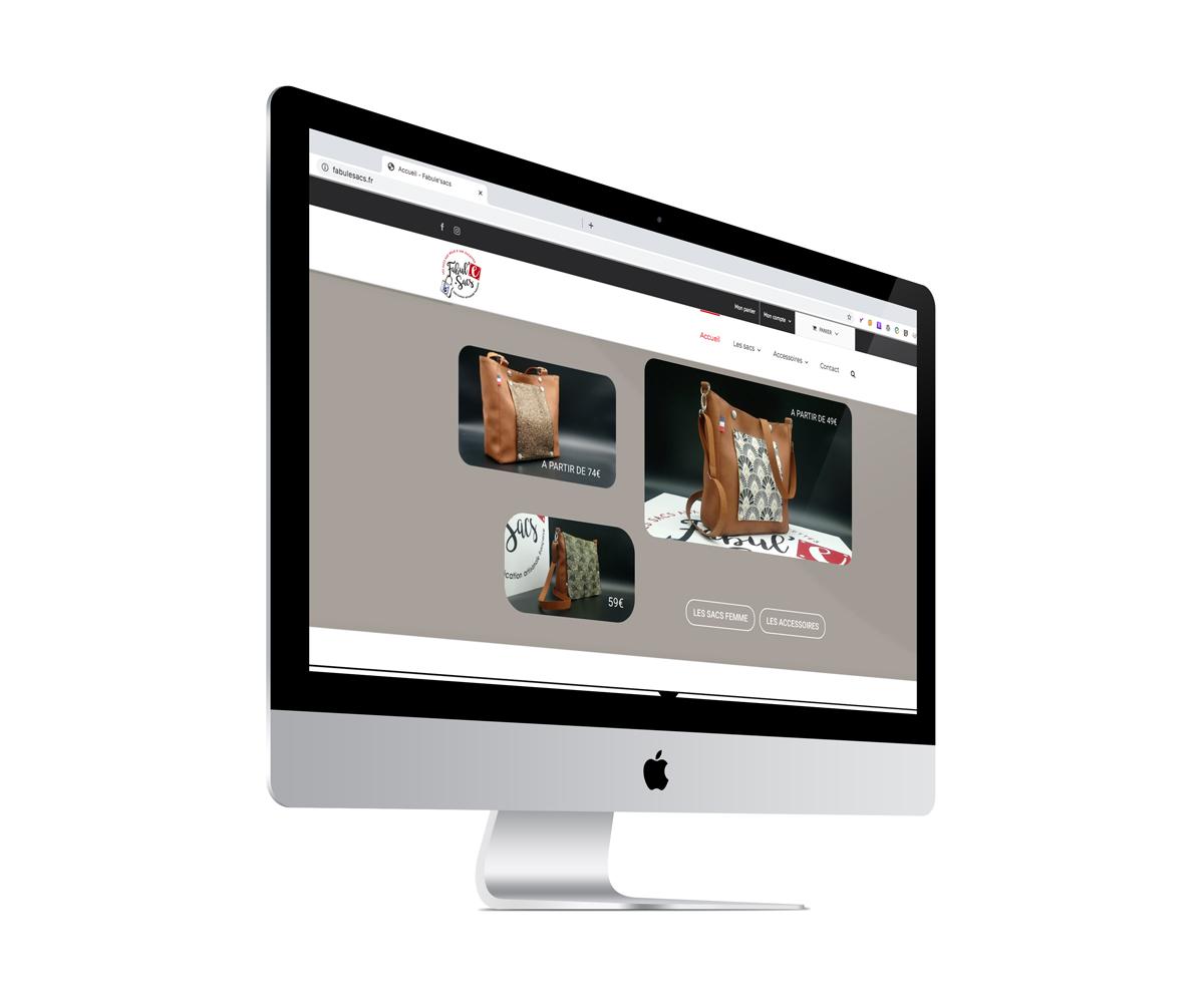 Ecran du site E-commerce Fabul'E sacs