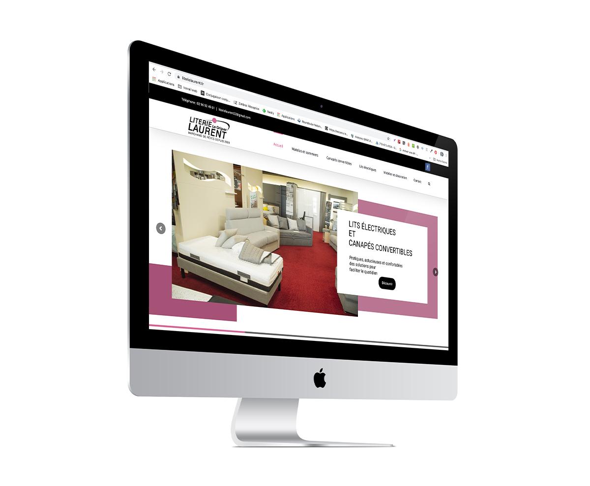 écran du site Internet des literies Laurent dans les Côtes-d'Armor (22)