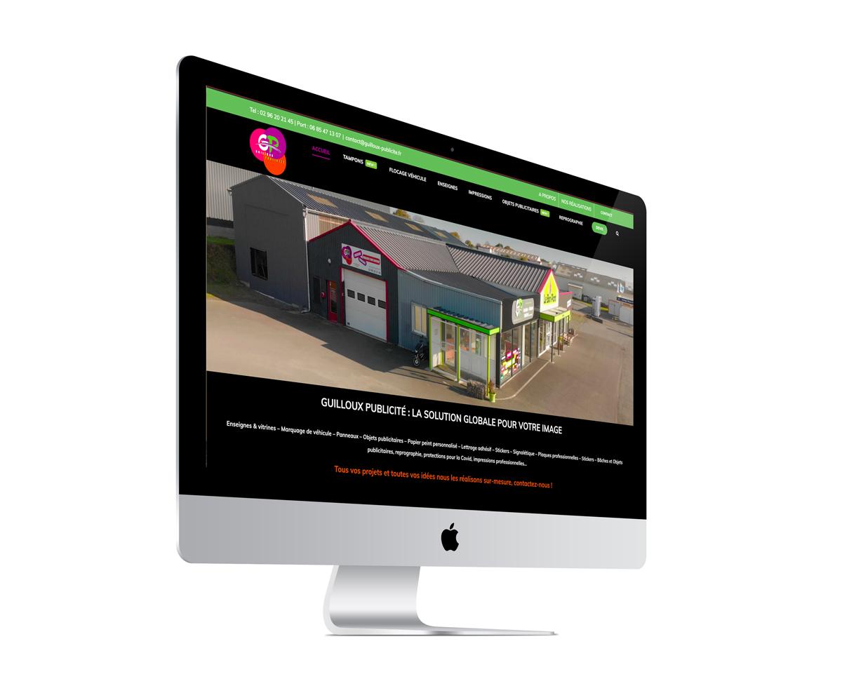 écran du site Guilloux Publicité